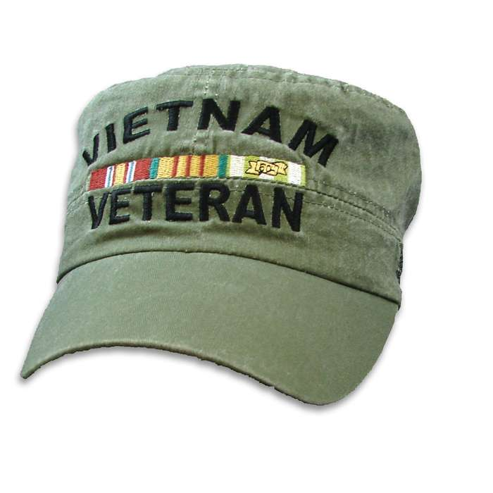 Olive Drab Vietnam Veteran Flat Top Cap - Hat, 100 Percent Cotton Construction, Embroidered Design, Adjustable Band