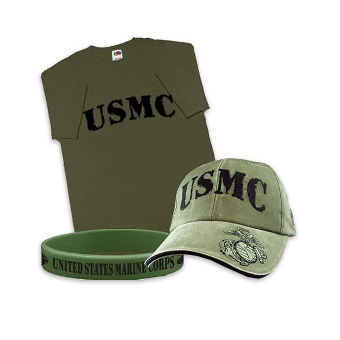USMC Hat, T-Shirt, Wristband Combo
