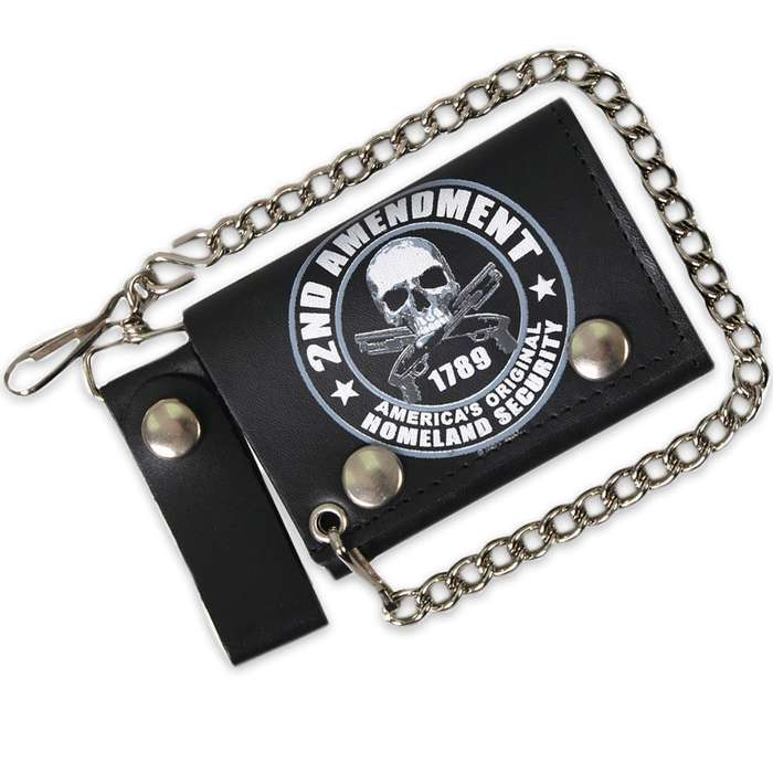 Second Amendment Homeland Security Folding Leather Wallet With Chain