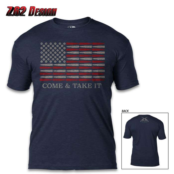Come And Take It Navy T-Shirt - Cotton And Poly, Athletic Fit, Tagless, Screen-Printed Original Artwork