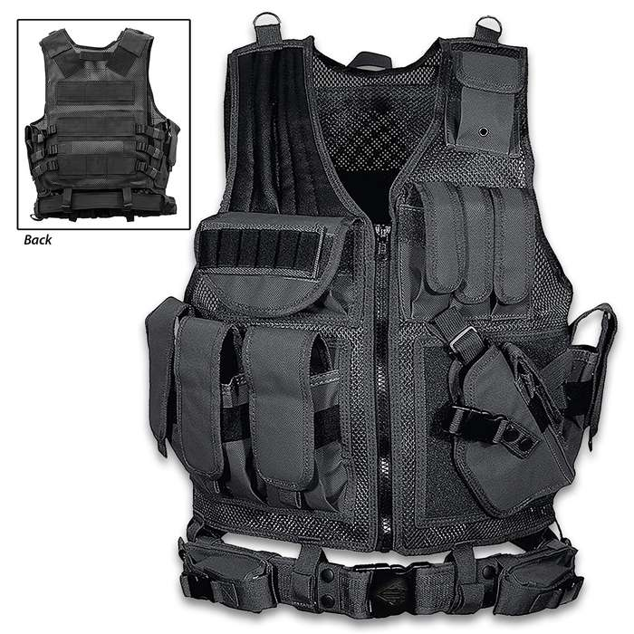 The one size fits most UTG Law Enforcement Tactical Vest is built with features that are essential to the success of any mission