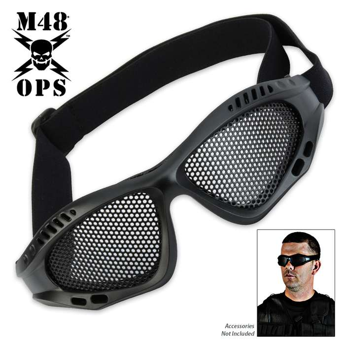 M48 OPS Military Tactical Mesh Goggles Black