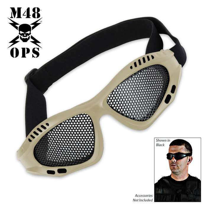 M48 Gear Military Tactical Mesh Goggles Tan