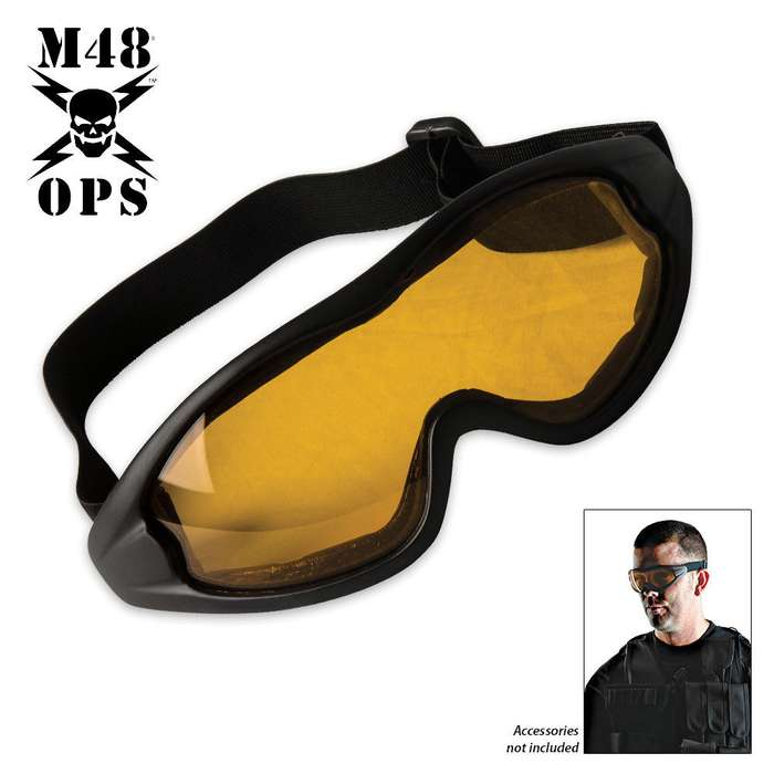 M48 Gear Military Tactical Anti Fog Shatterproof Goggles Yellow