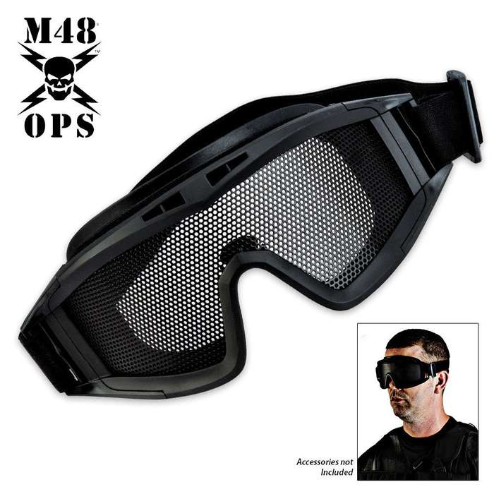 M48 Ops Military Tactical Mesh Goggle Black