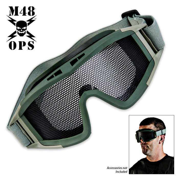 M48 Ops Military Tactical Mesh Goggle Green