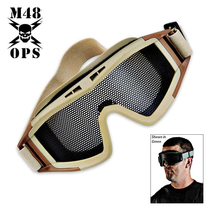 M48 Ops Military Tactical Mesh Goggle Tan