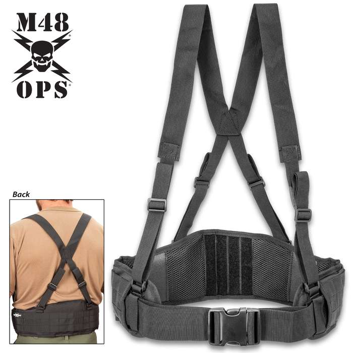 M48 Tactical Waist Belt With Shoulder Straps - Polyester And Nylon Webbing Construction, Adjustable, MOLLE, Quick Release Buckle