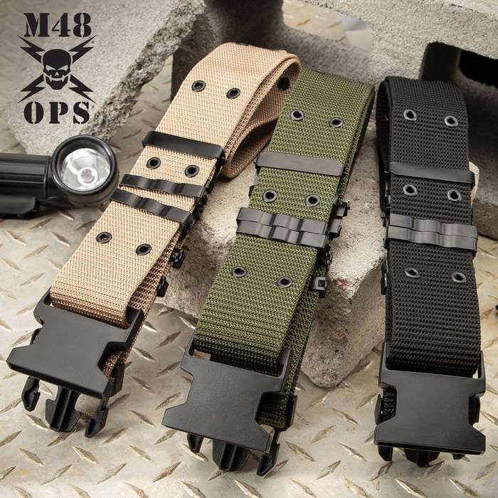 M48 Tactical Gear Belt - Nylon Webbing Construction, ABS Quick-Release Buckle, Metal Grommets and Brackets - Length 40 1/2""