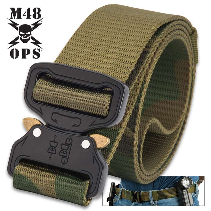 This versatile, camouflage military-style belt is suitable for using with tactical gear and for casual, everyday wear