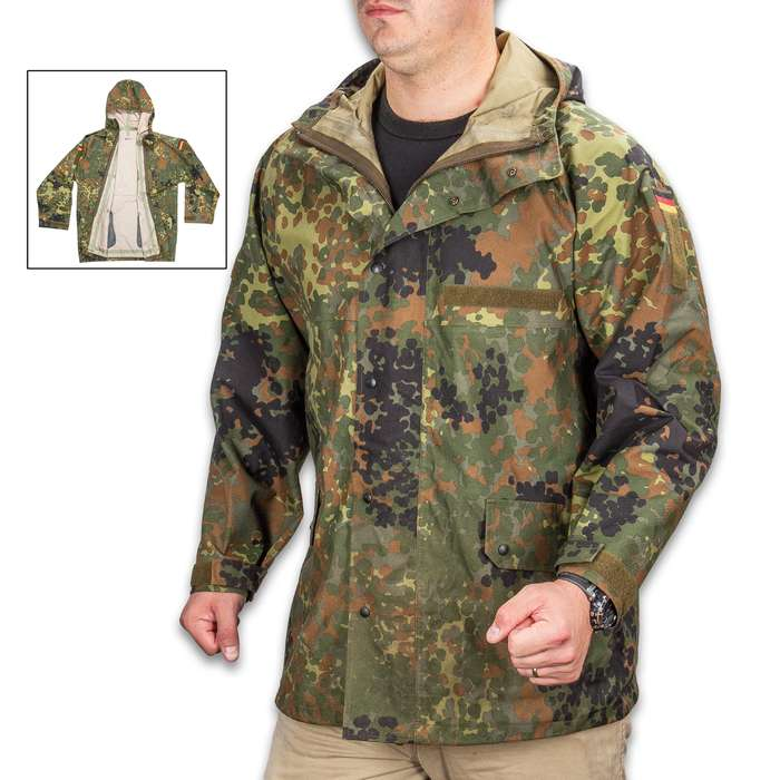 German Military Surplus Wet Weather Jacket - Flecktarn Camo - Gore-Tex - Hood, Adjustable Cuffs, Pockets - Tough yet Lightweight, Waterproof yet Breathable - Used - Hunting Fishing Outdoors Tactical