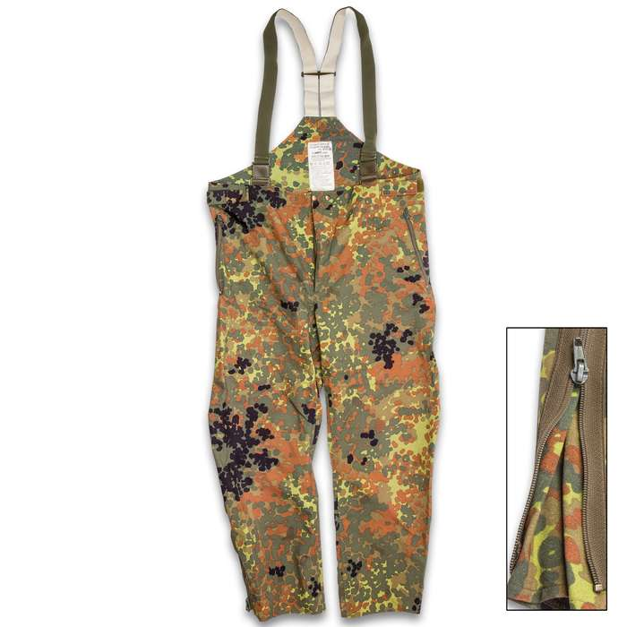 German Military Surplus Wet Weather Pants - Flecktarn Camo - Gore-Tex - Suspenders, Zip Gusseted Legs - Tough Lightweight Waterproof Breathable - Used - Hunting Fishing Outdoors Tactical