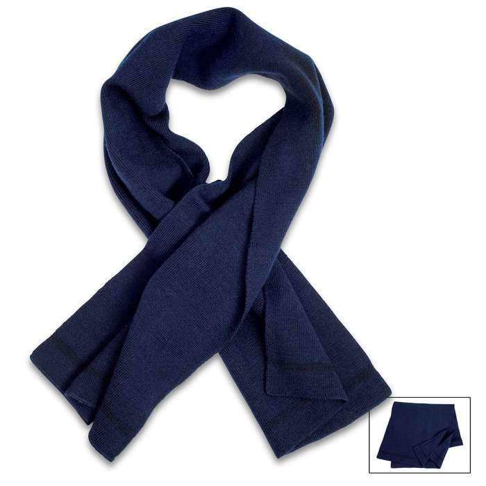 "German Military Issue Navy Blue Wool Scarf - Used Like New, High-Quality 100 Percent Wool Construction - Dimensions 12""x 44"""