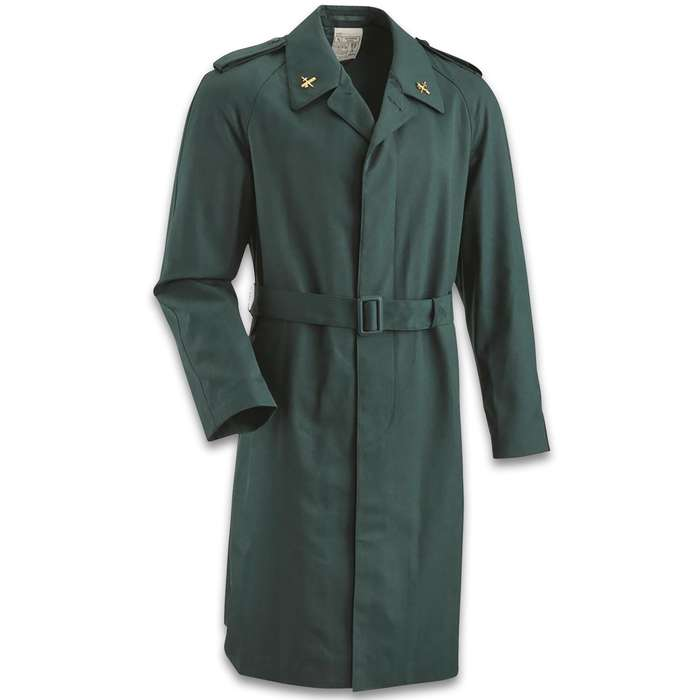 Spanish Military trench coat - olive drab nylon polyester with a full-button front that has a storm flap