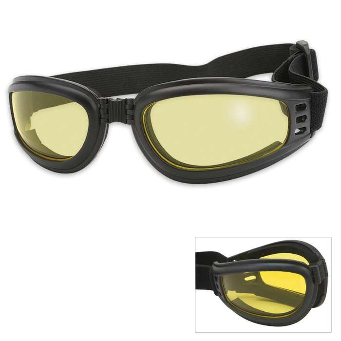 Folding Tactical Goggles Yellow Lens