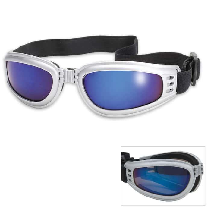 Folding Tactical Goggles Blue Mirror Lens
