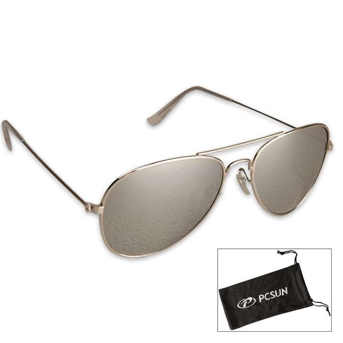 Pilots Mirror Lens Aviator Sunglasses and Case