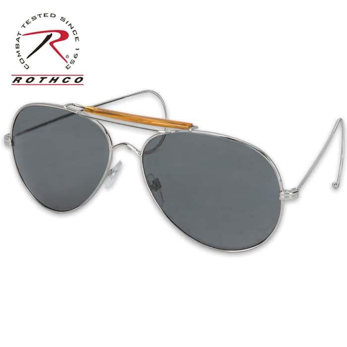 Aviator Style Sunglasses, Smoke Lens