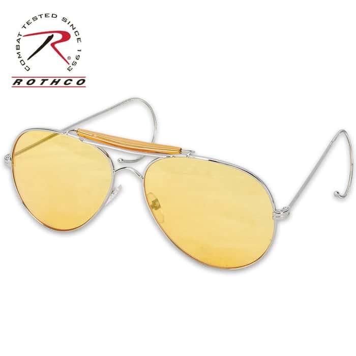 Aviator Style Sunglasses, Yellow Lens