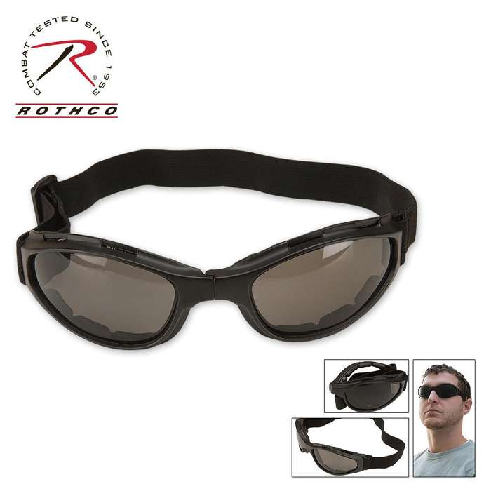 Black Collapsible Tactical Goggles