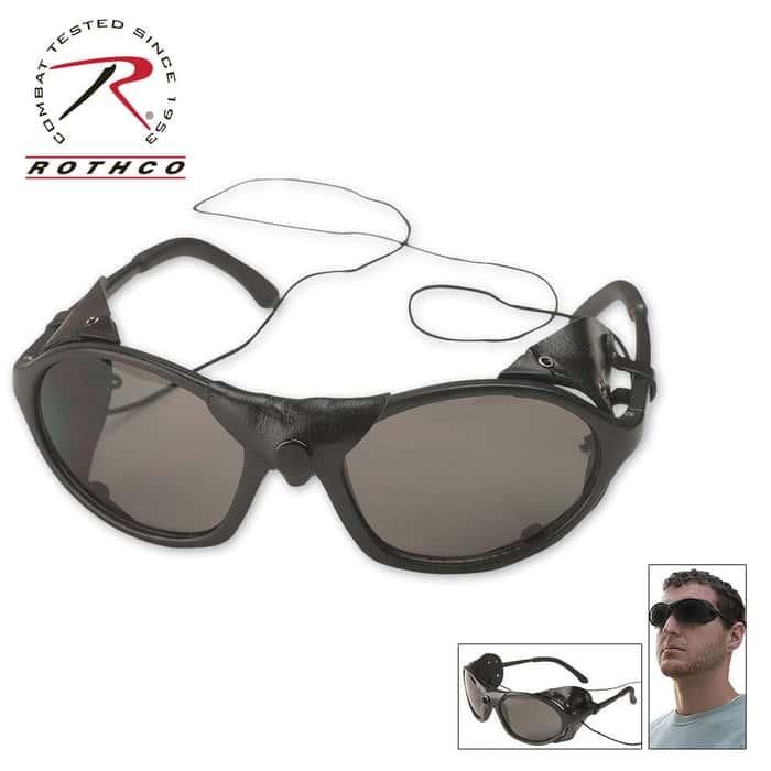 Black Tactical Sunglasses With Wind Guard (Glacier Glasses)