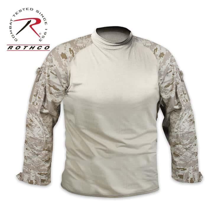 Military Combat Long Sleeve Shirt - Desert Digi Camo
