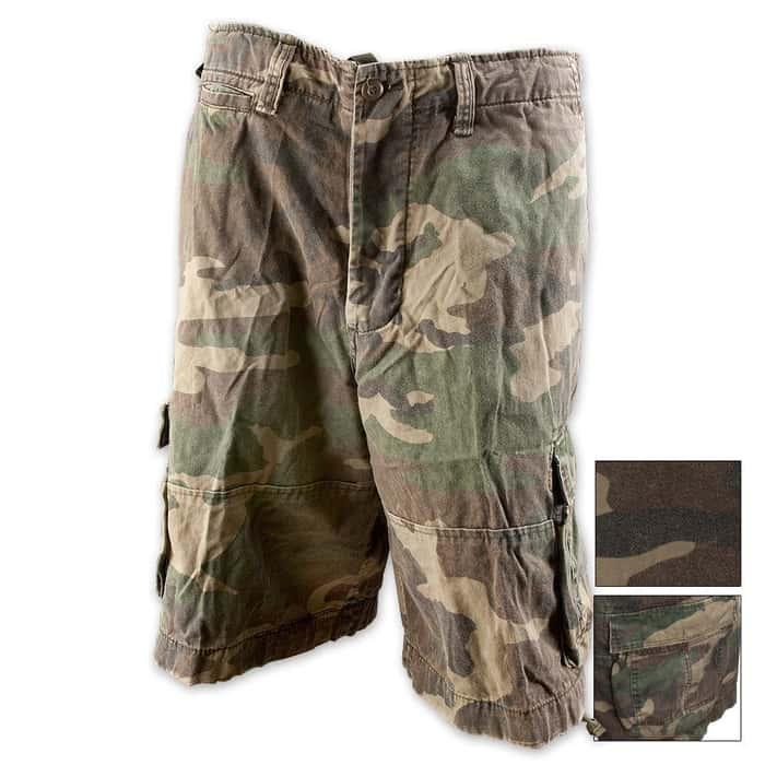 Vintage Infantry Utility Shorts Woodland Camo