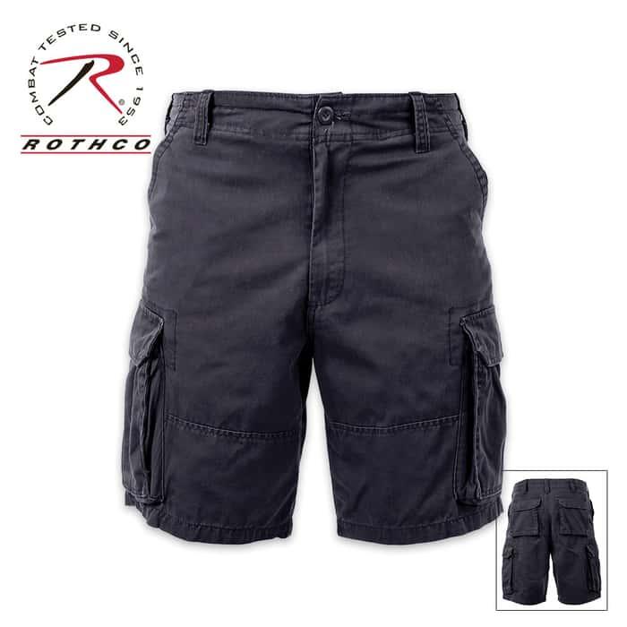 Vintage Solid Paratrooper Cargo Shorts Black