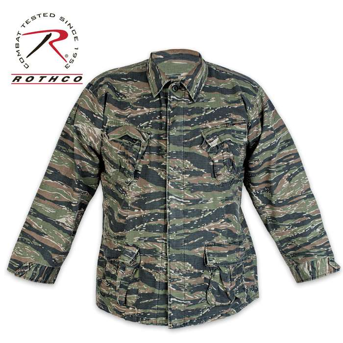 Tiger Stripe Vintage Vietnam Era 4-Pocket Fatigue Shirt