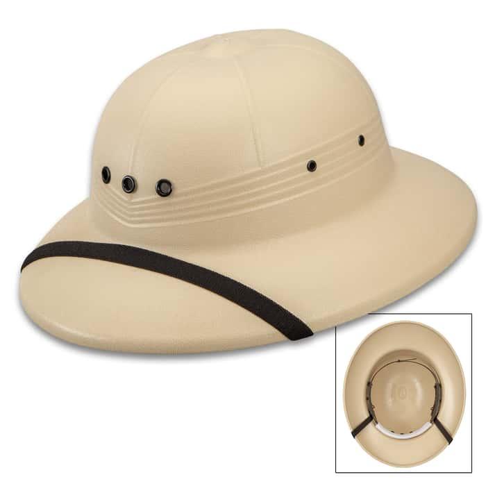 Khaki Pith Helmet - High-Density Polyethylene Construction, Waterproof, Adjustable Strap Inside, USA Made - One Size Fits Most