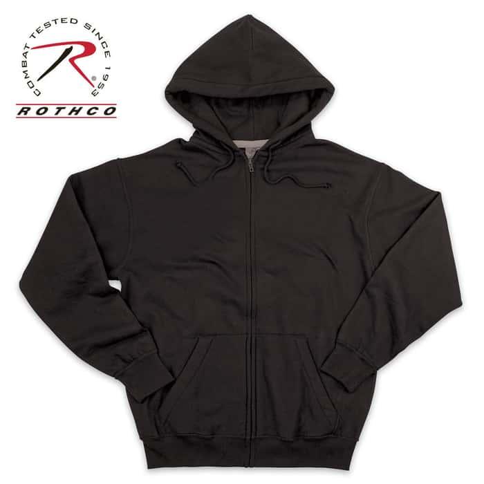 Thermal Lined Zipper Sweatshirt Black