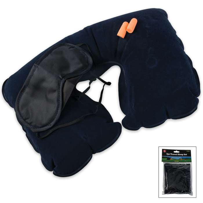 3 Pc. Travel Set Pillow, Eye Mask & Ear Plugs