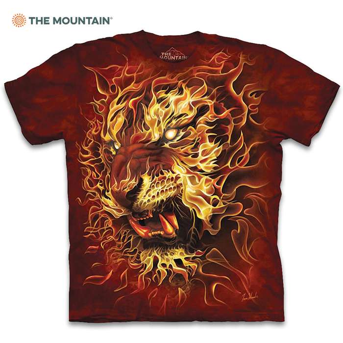 Fire Tiger Red T-Shirt - Pre-Shrunk 100 Percent Cotton, Soft Feel, Classic Fit, Hand-Dyed, Reinforced Stitching