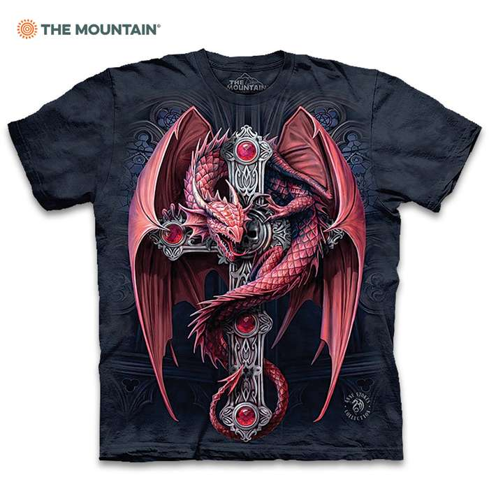 Gothic Guardian Black T-Shirt - Pre-Shrunk 100 Percent Cotton, Soft Feel, Classic Fit, Hand-Dyed, Reinforced Stitching