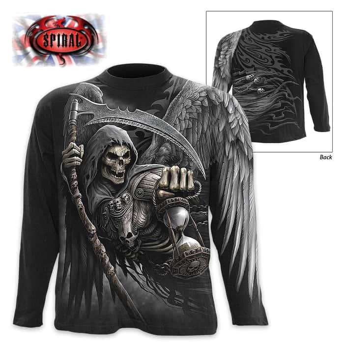 Black Death Angel Wrap - Allover T-Shirt Long-Sleeve