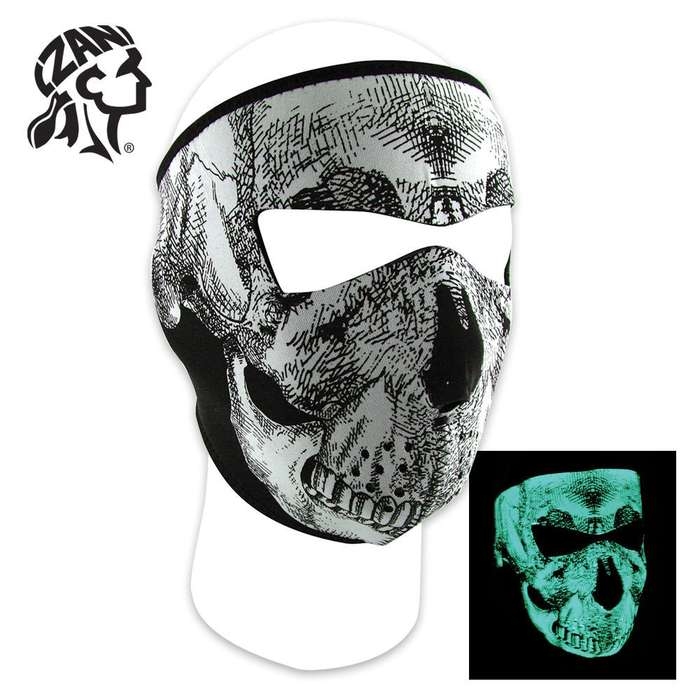 ZANheadger Black And White Glow In The Dark Skull Face Full Facemask