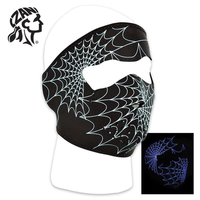 ZANheadgear Glow In The Dark Spider Web Neoprene Full Facemask