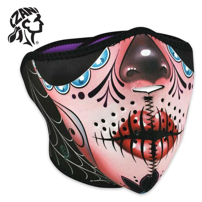 ZANheadgear Sugar Skull Reversible Neoprene Half Facemask
