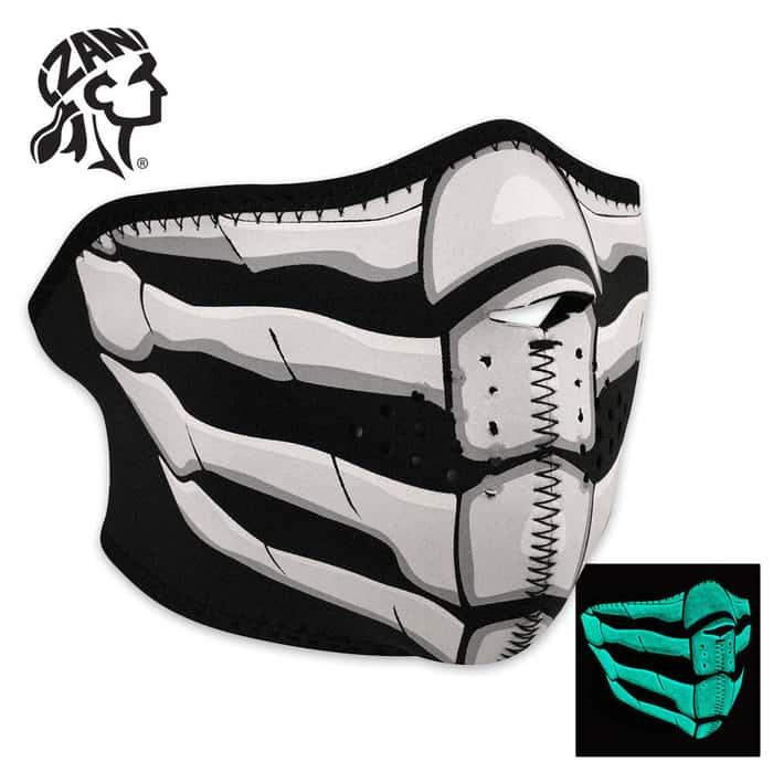 ZANheadgear Glow In The Dark Bone Breath Neoprene Half Facemask
