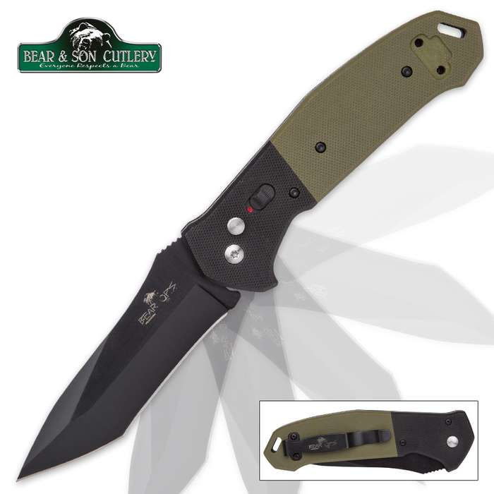 Bear Ops Bold Action Auto Black And Green Tactical Blade Pocket Knife