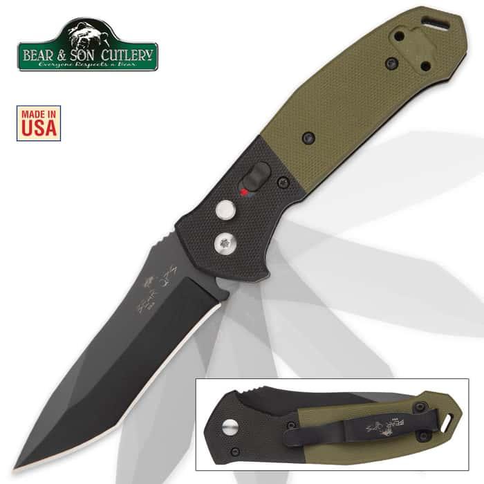 Bear Bold Action Black Pocket Knife - OD Green G10 Handle