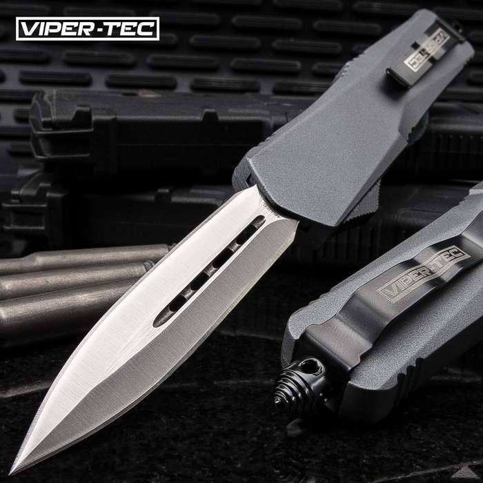 """Ghost Series Grey Double Edge OTF Knife - Stainless Steel Blade, Metal Alloy Handle, Pocket Clip - Length 9"""""""