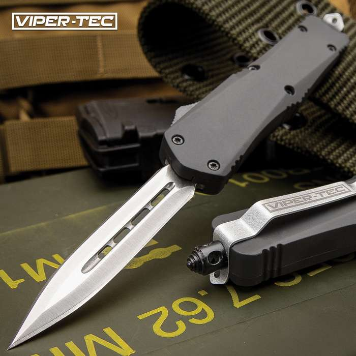 Mini Ghost Series Black Double Edge OTF Knife - Stainless Steel Blade, Metal Alloy Handle, Pocket Clip - Length 7""
