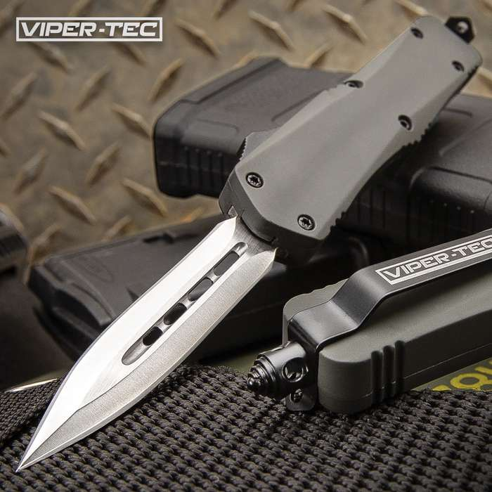 Mini Ghost Series Grey Double Edge OTF Knife - Stainless Steel Blade, Metal Alloy Handle, Pocket Clip - Length 7""
