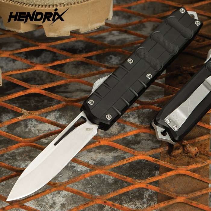 Add a sleek and compact OTF automatic to your rotation with the Hendrix Triton OTF Drop Point from Viper-Tec Knives