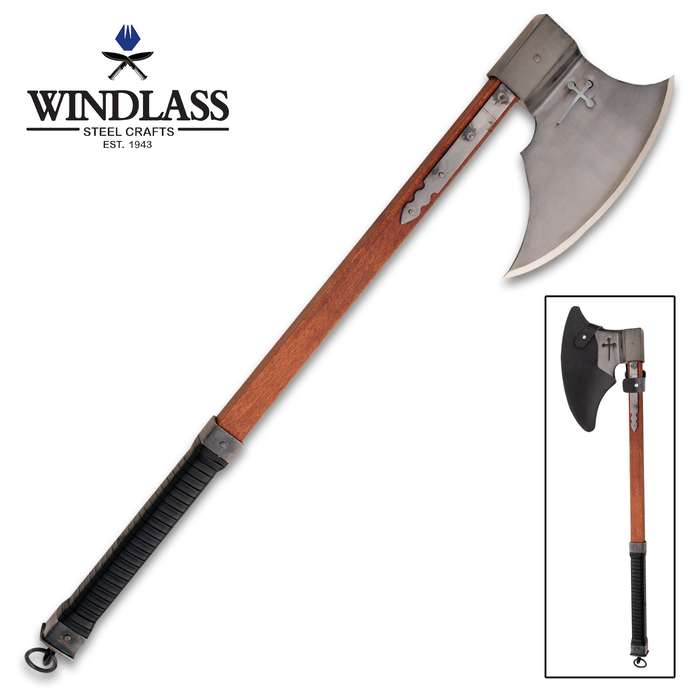 The Windlass Steelcrafts Crusader Axe is a reproduction of a formidable sidearm that was used by Medieval knights