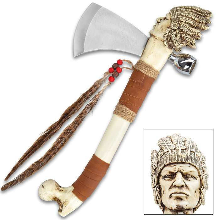 Cherokee Tomahawk And Peace Pipe Replica - Stainless Steel Blade, Crafted Of Cast Polyresin, Feather Accents - Length 16""