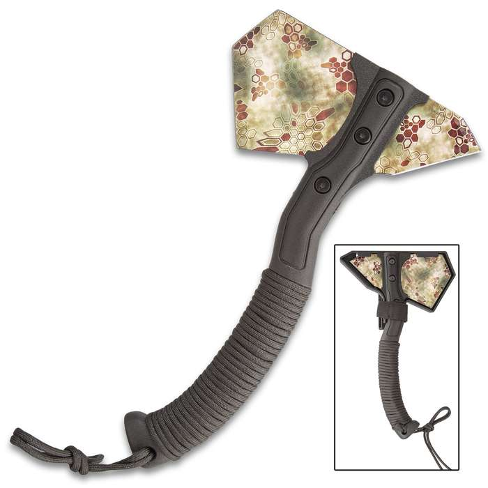 Vector Camouflage Field Axe With Sheath - Stainless Steel Head, Camouflage, Paracord Wrapped ABS Handle - Length 11 1/4""