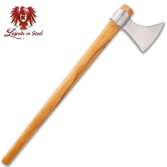Legends In Steel Viking Display Axe - Hand-Forged High Carbon Steel, Polished Finish, False-Edged, Beech Wood Handle - Length 27""