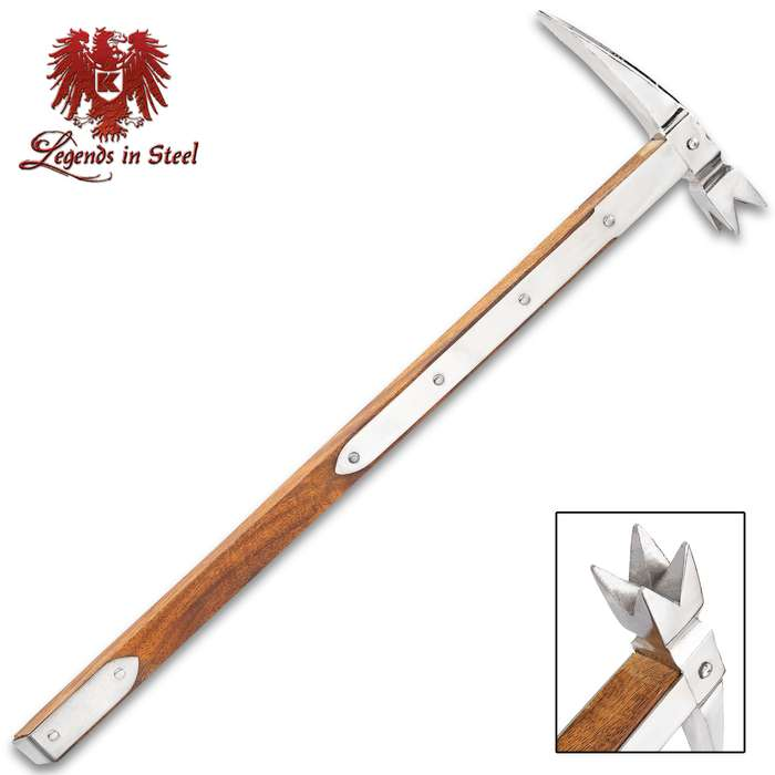 Legends In Steel War Hammer - Stainless Steel Head, Indian Wood Handle, Stainless Steel Braces With Studs - Length 21 1/2""